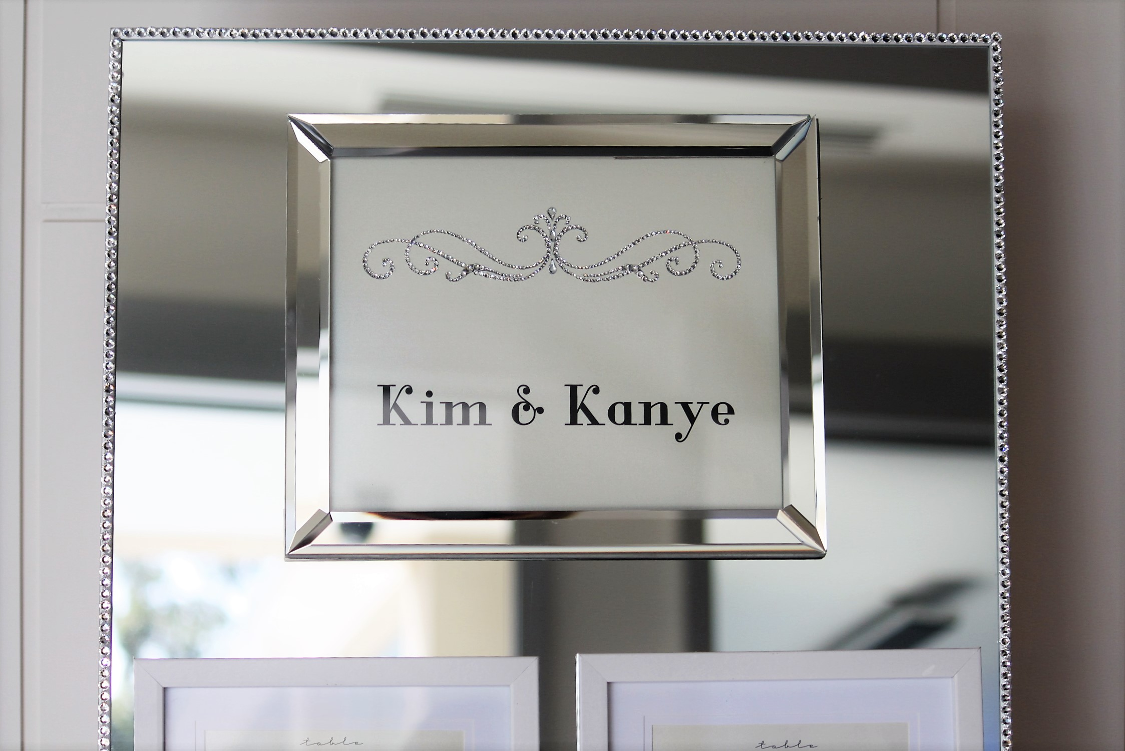 weve chosen a selection of photo frames from kmart to make this project the top frame with kim kanyes name in it is an 8 x 10 mirror frame 10